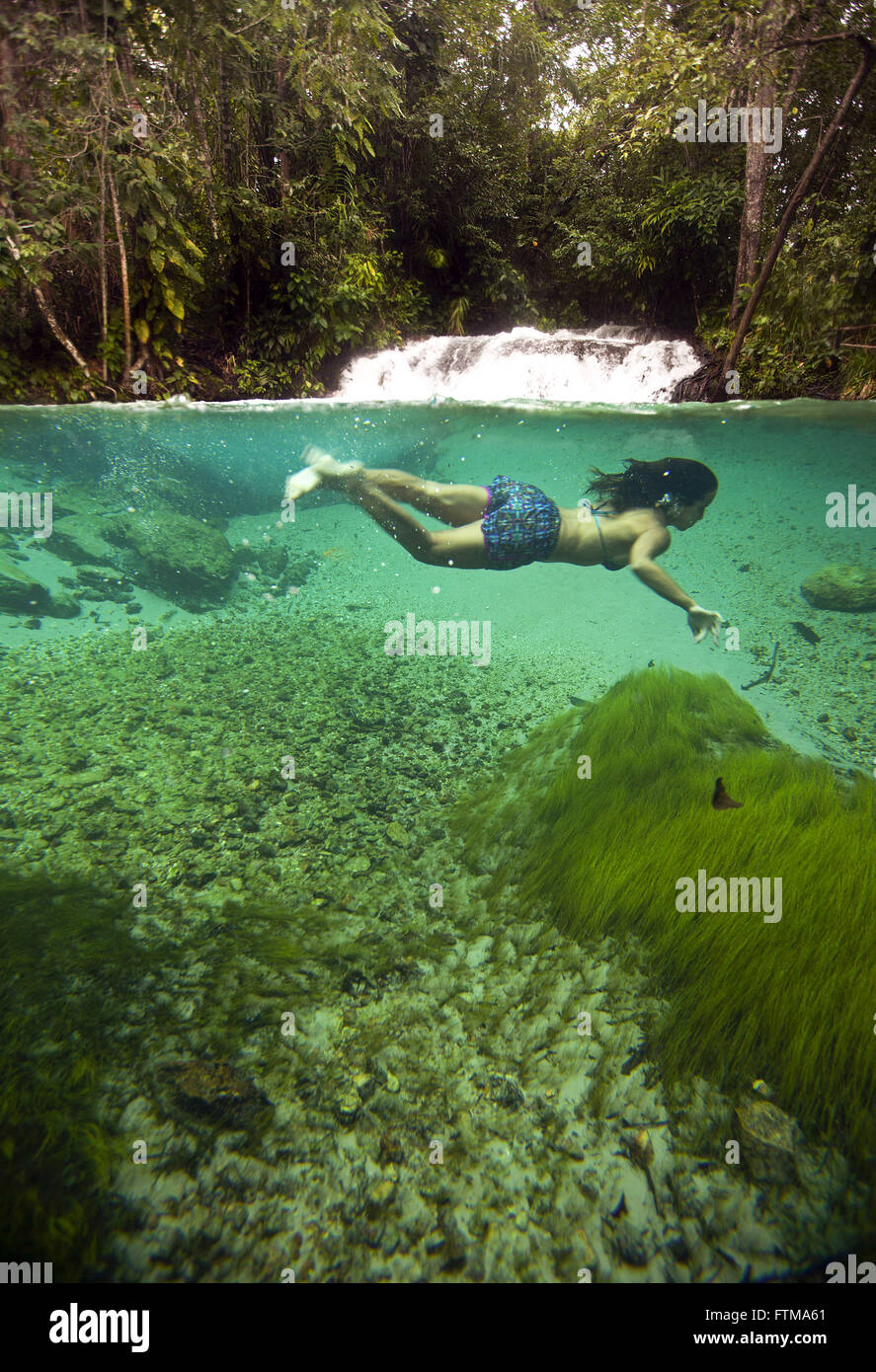 Tourist nothing in the clear waters of Formiga Waterfall - Jalapao - Stock Image