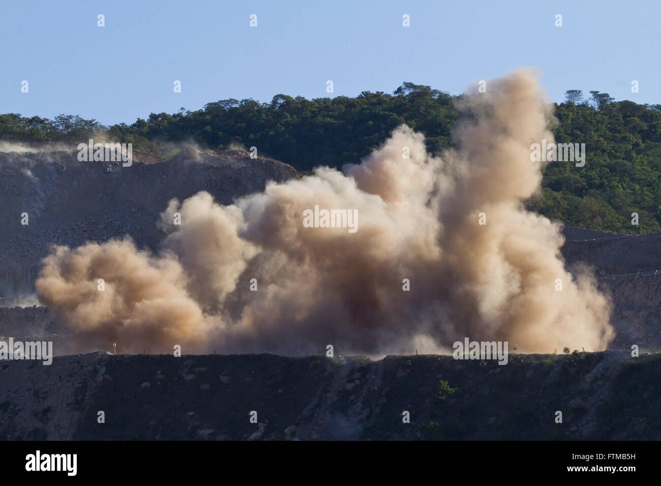 Detonation of explosives in excavation works - Stock Image