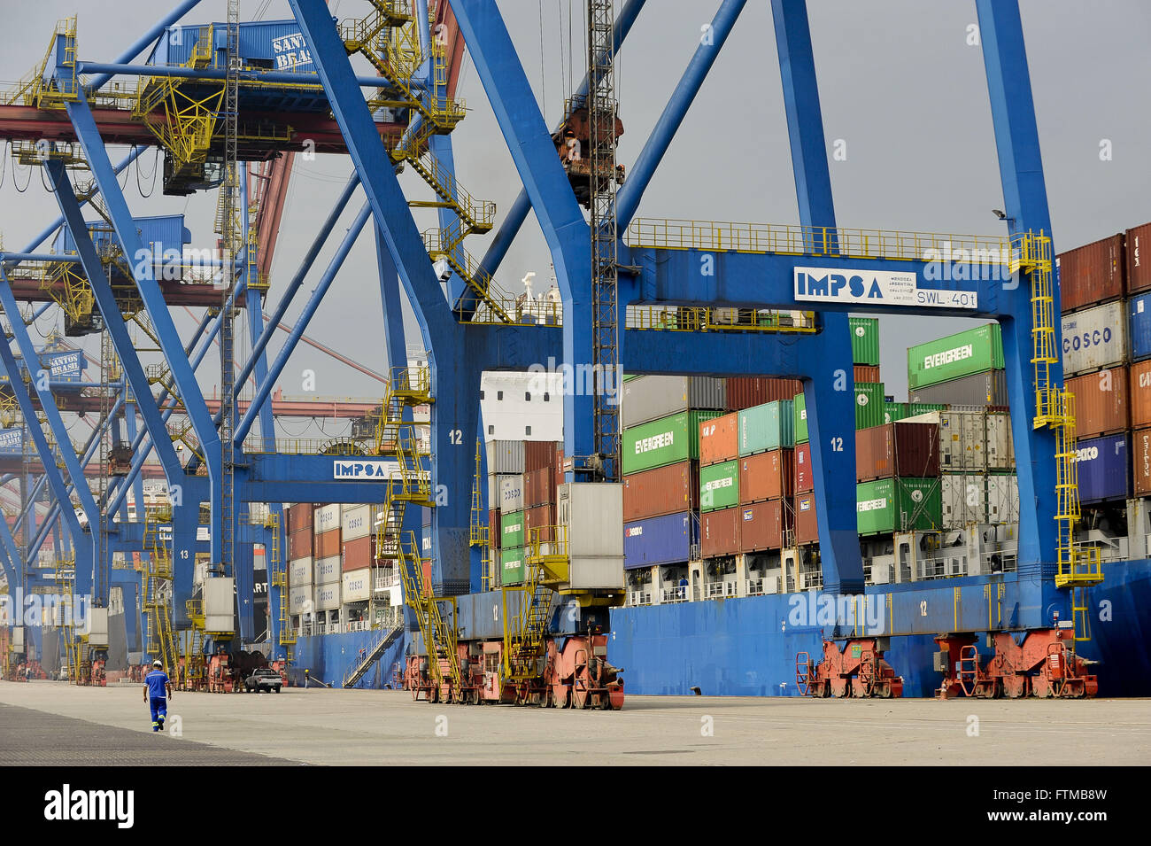 Cargo ships being loaded at the Port of Santos - Stock Image