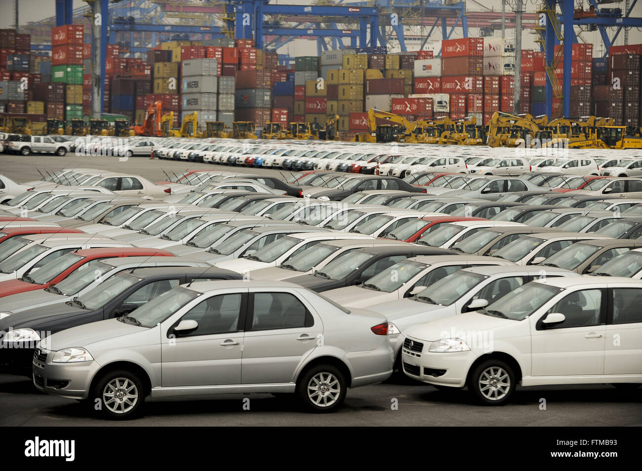 Used Fiat brand that will be exported to Argentina at the Port of Santos - Stock Image