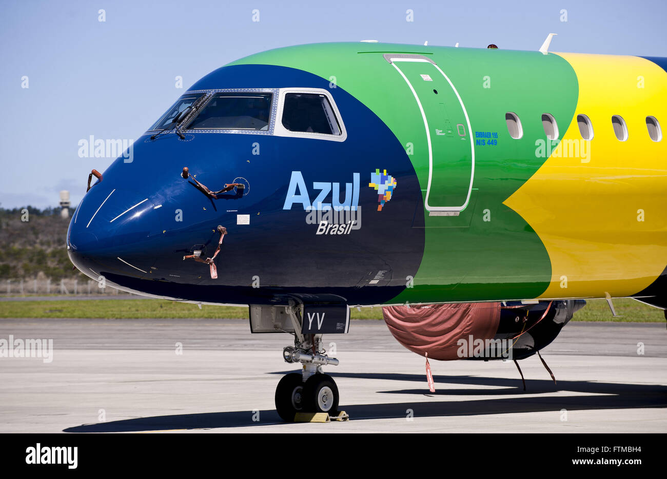 Azul Linhas Aereas plane produced by Embraer - Stock Image