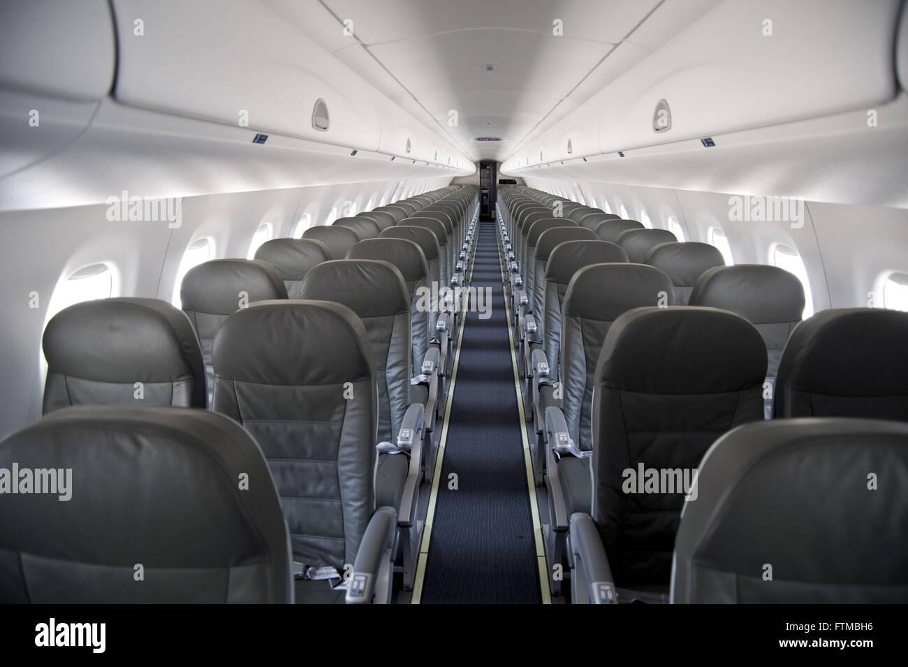 Interior Aircraft Model Emb 195 Embraer Stock Photo
