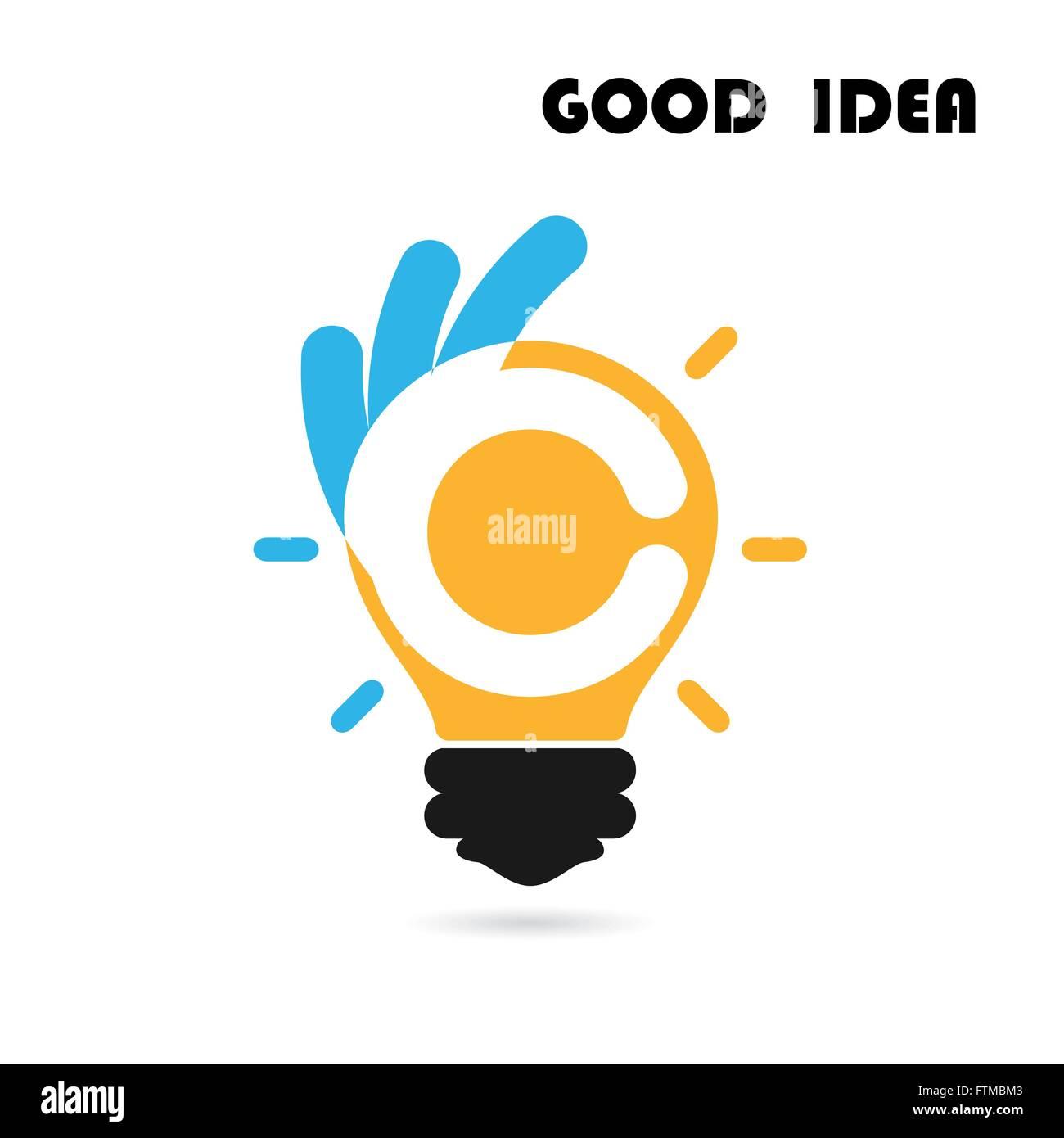Creative light bulb logo design vector template with OK hand Stock ...