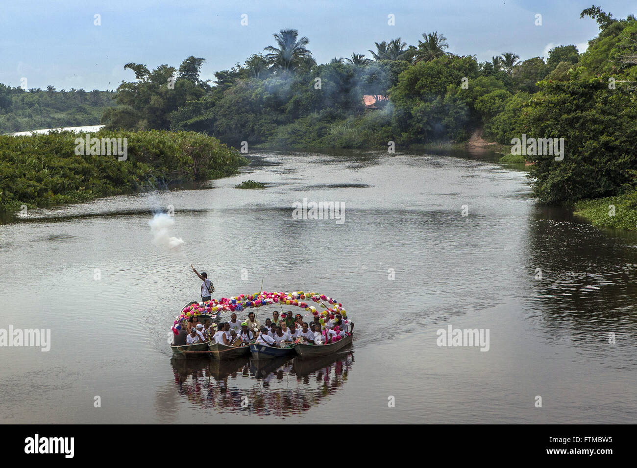 Fluvial procession of the Feast of Saint Benedict and Saint Sebastian - Stock Image