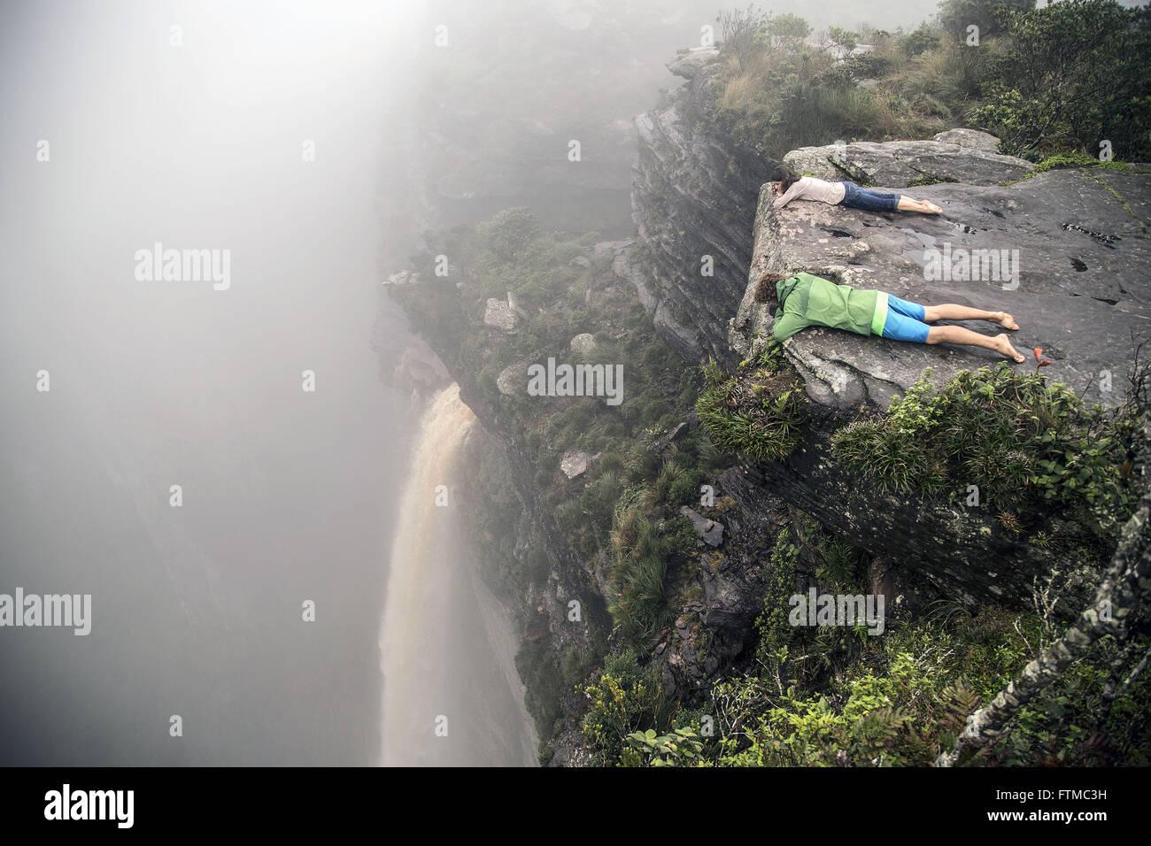 Ecotourists observe the Waterfall of Smoke - Stock Image