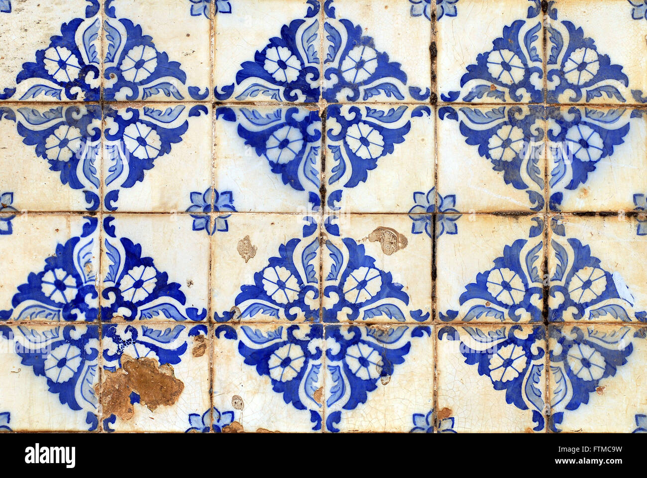 Detail of Portuguese tile townhouse in the historic center of Sao Luis - Stock Image