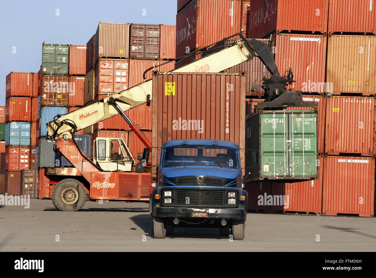 Container terminal in the side of Route Canon Domenico Rangoni - Stock Image