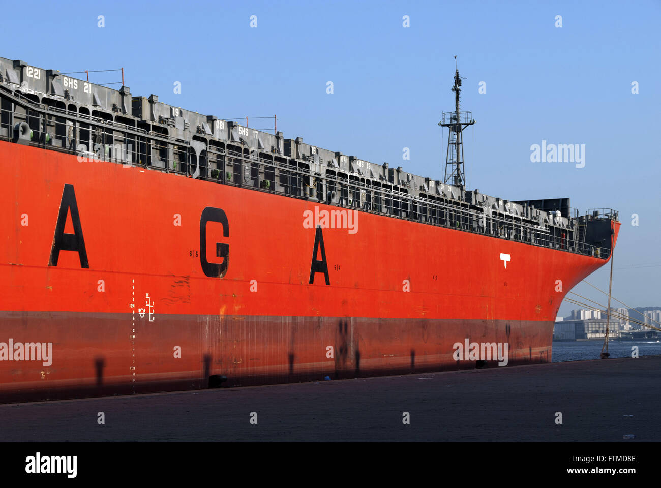 Ship Owner Saga Forest Carriers docked at the side of the port of Santos - Stock Image