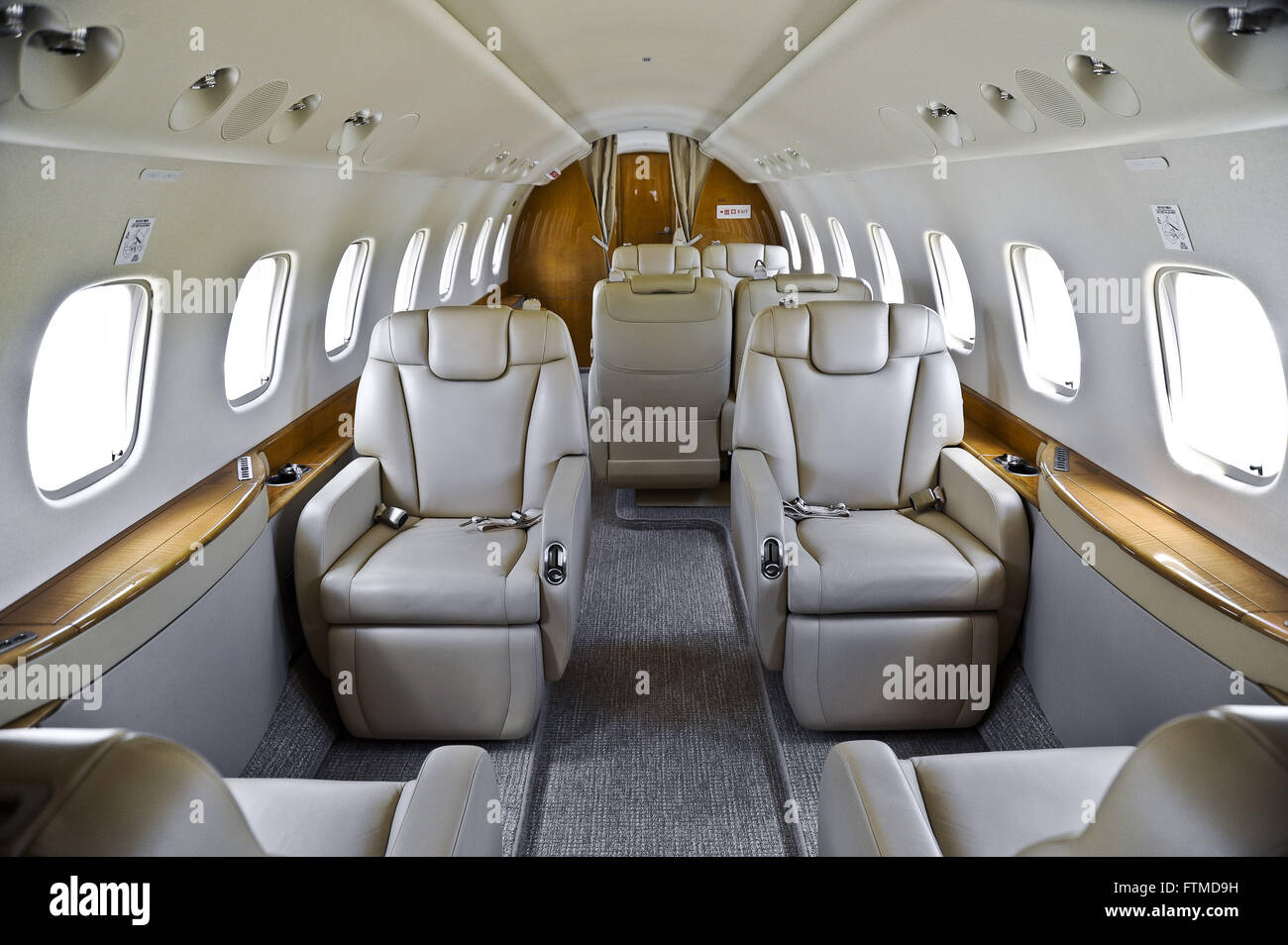 Interior Aircraft Embraer Legacy 650 exported to China - Stock Image