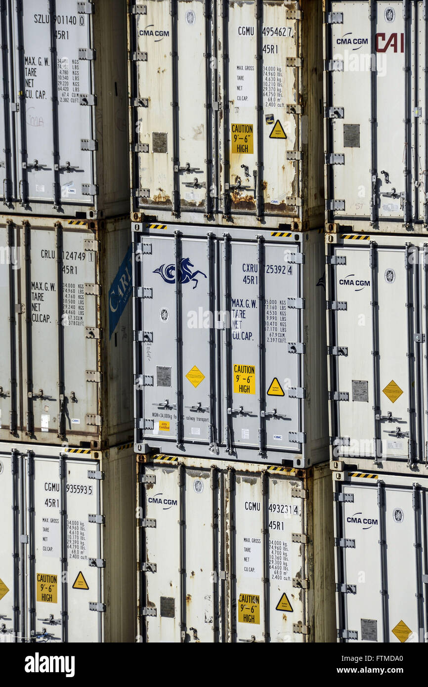 Detail of containers in Libra Terminals - Stock Image