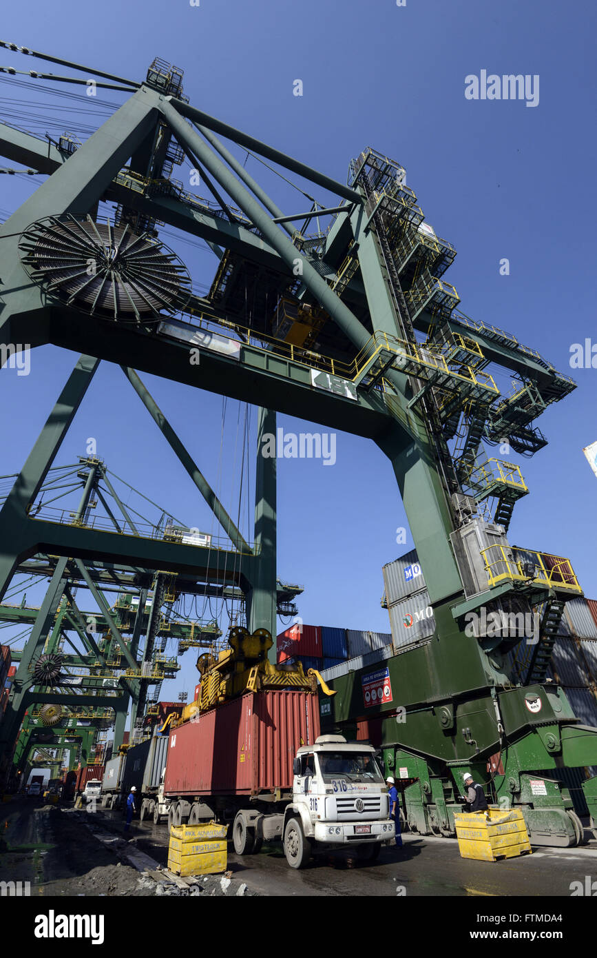 Withdrawn from container truck for loading ship in Libra Terminals - Stock Image