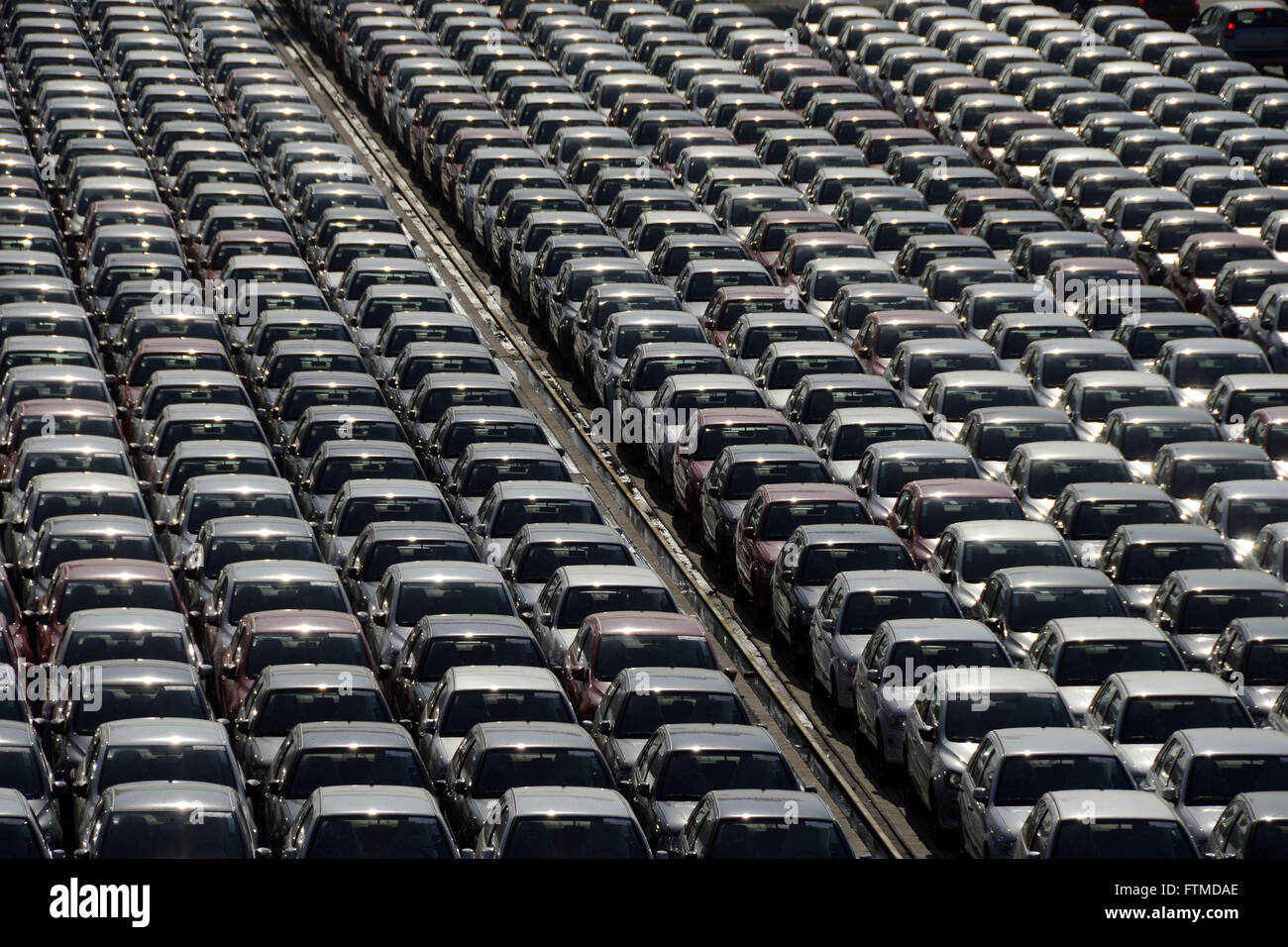 Imported cars in the courtyard of VTE - Vehicle Export Terminal in the Port of Santos - Stock Image