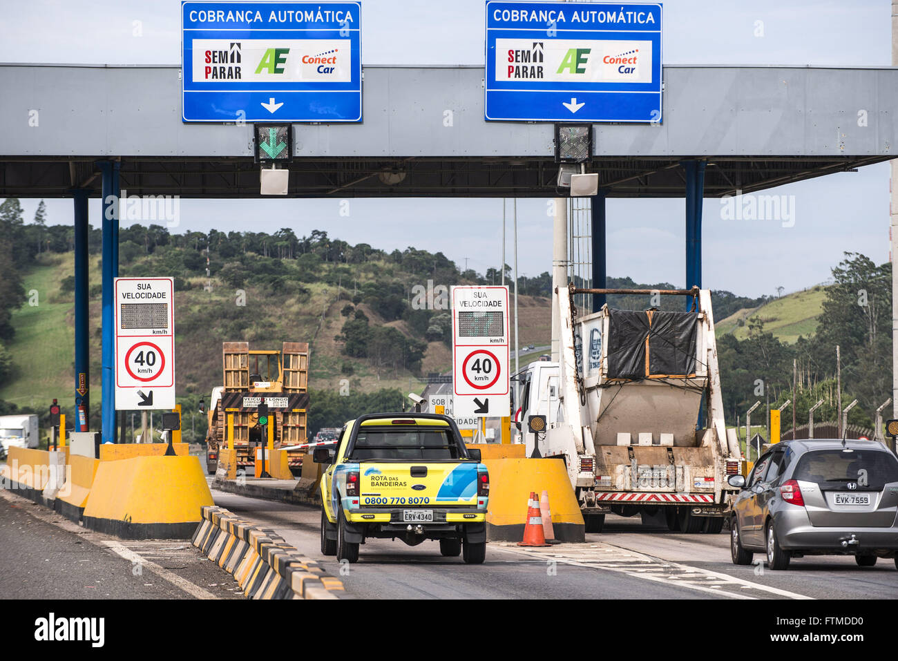 Toll Route Flags ConectCar electronics with pre-paid payment system - Stock Image