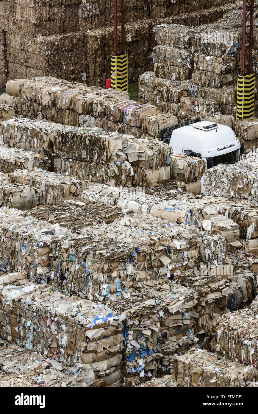 Deposit with bales of recyclable material that will be processed into packaging paper - Stock Image