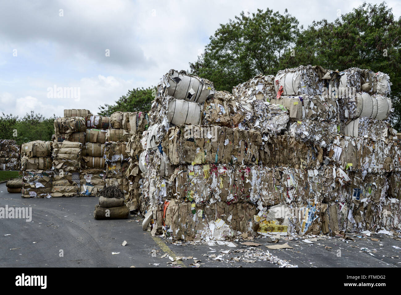 Bales of recyclable material that will be processed into packaging paper - Stock Image