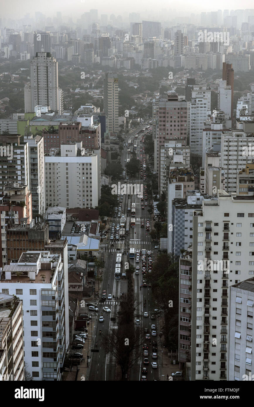 Top view of the city from building located at Alameda Santos - Stock Image