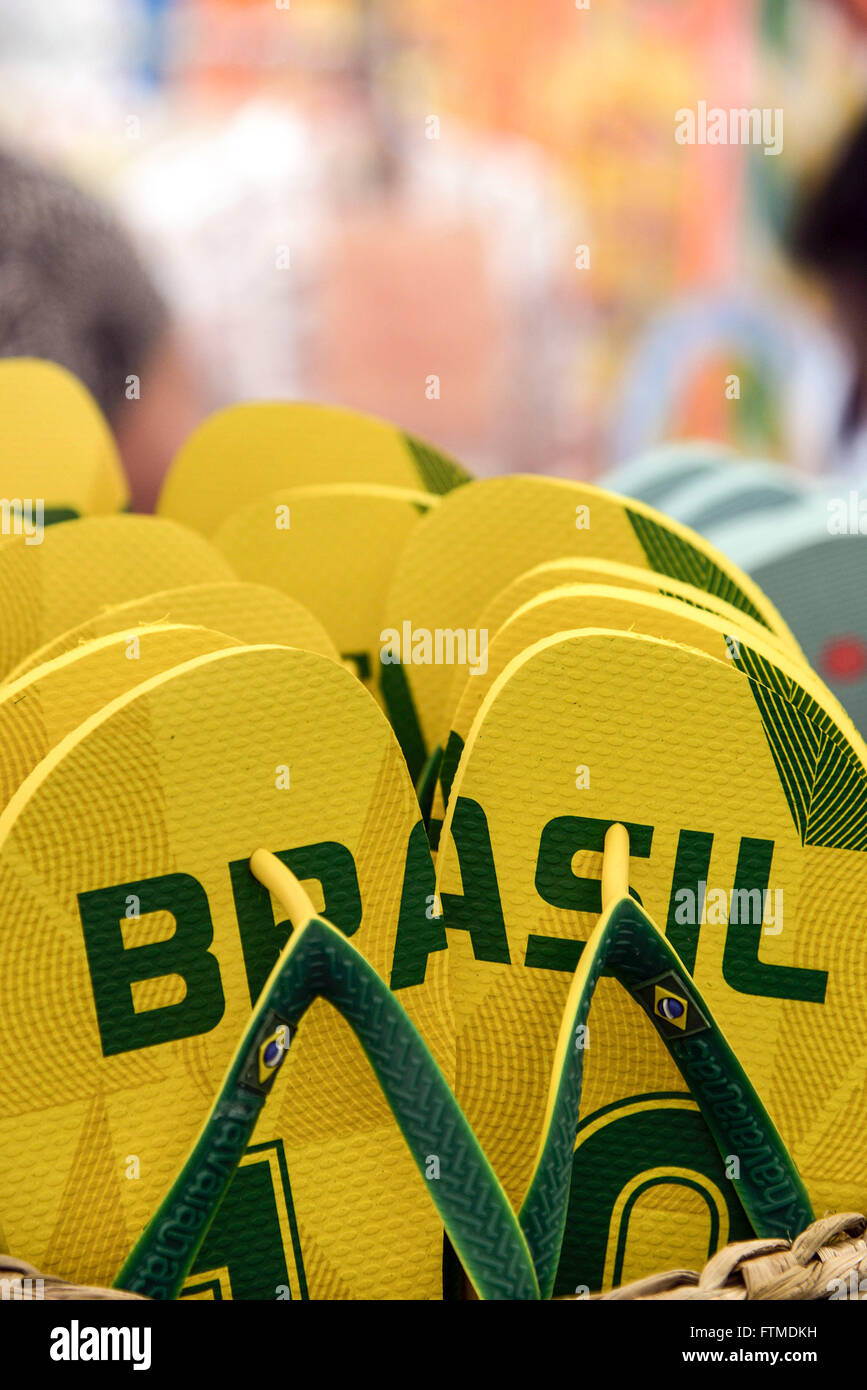 Detail of Hawaiian slippers themed Brazil official selection in store brand - Stock Image