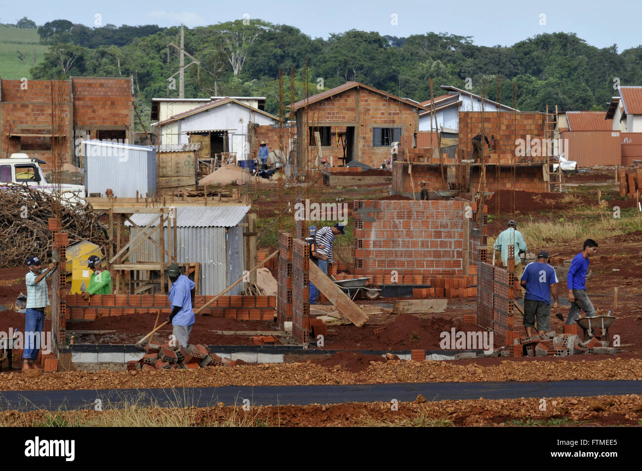 Construction of affordable housing - Stock Image