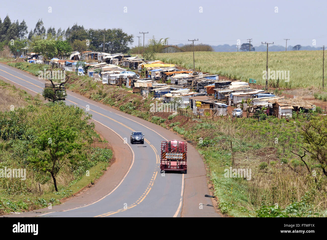 Landless settlements margins of BR-452 highway - Stock Image