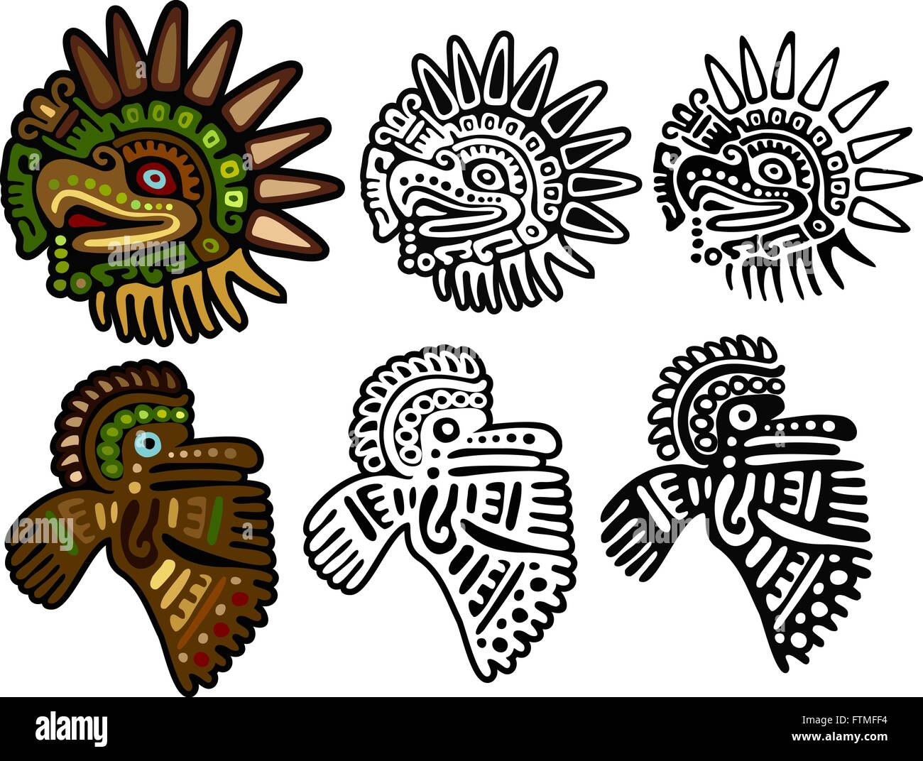 Two different eagle glyphs, in three versions each - Stock Image