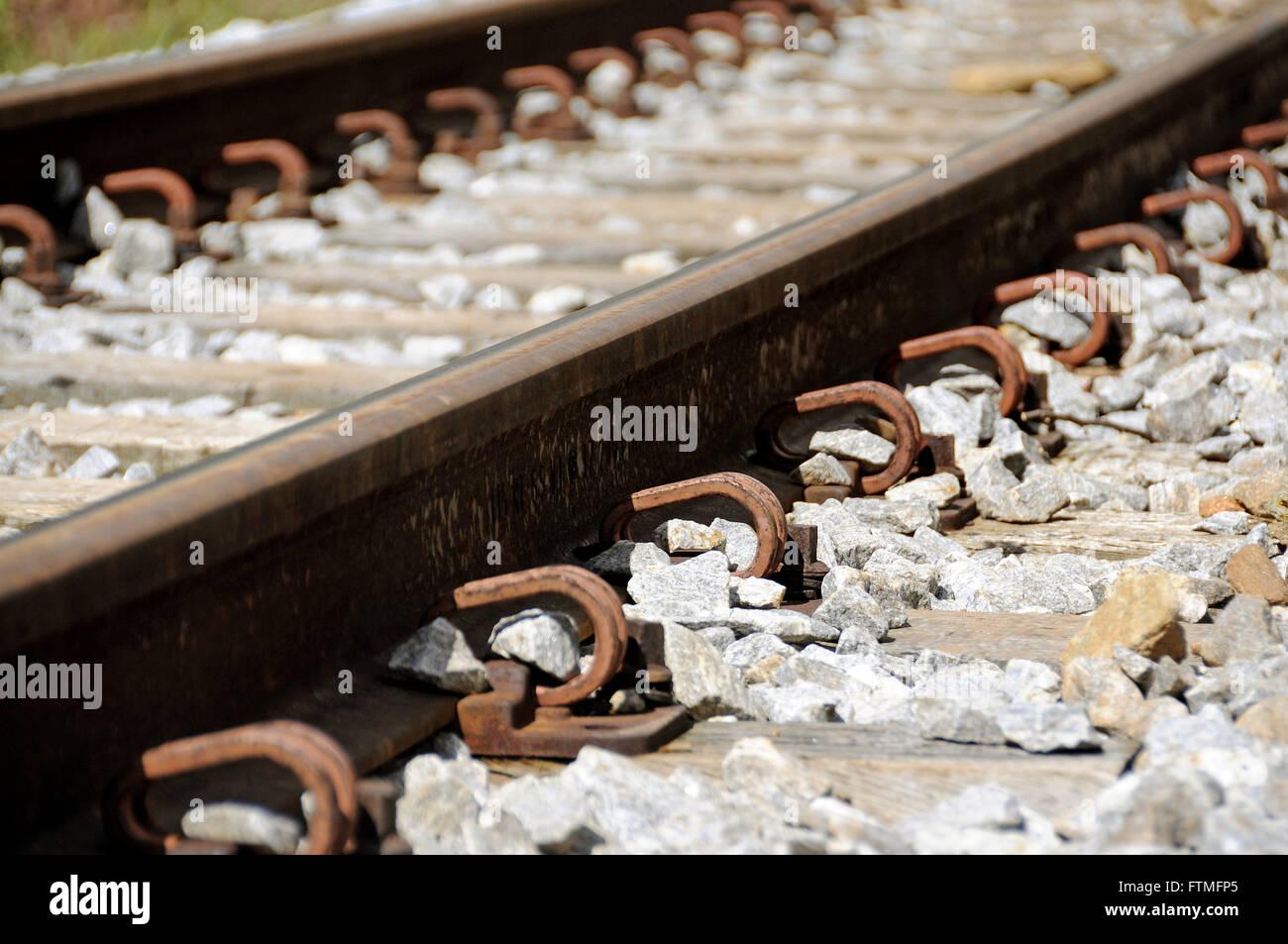 Railway tracks of Ouro Preto - trains Vale SA former CVRD - Stock Image