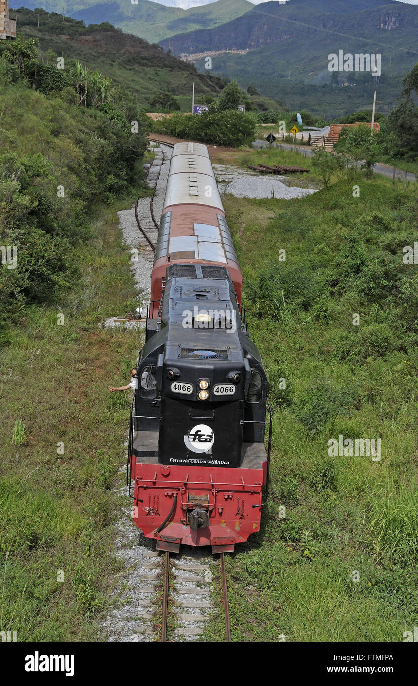 Visit ride between the historic towns of Ouro Preto and Mariana - Train Vale SA ex CVRD - Stock Image