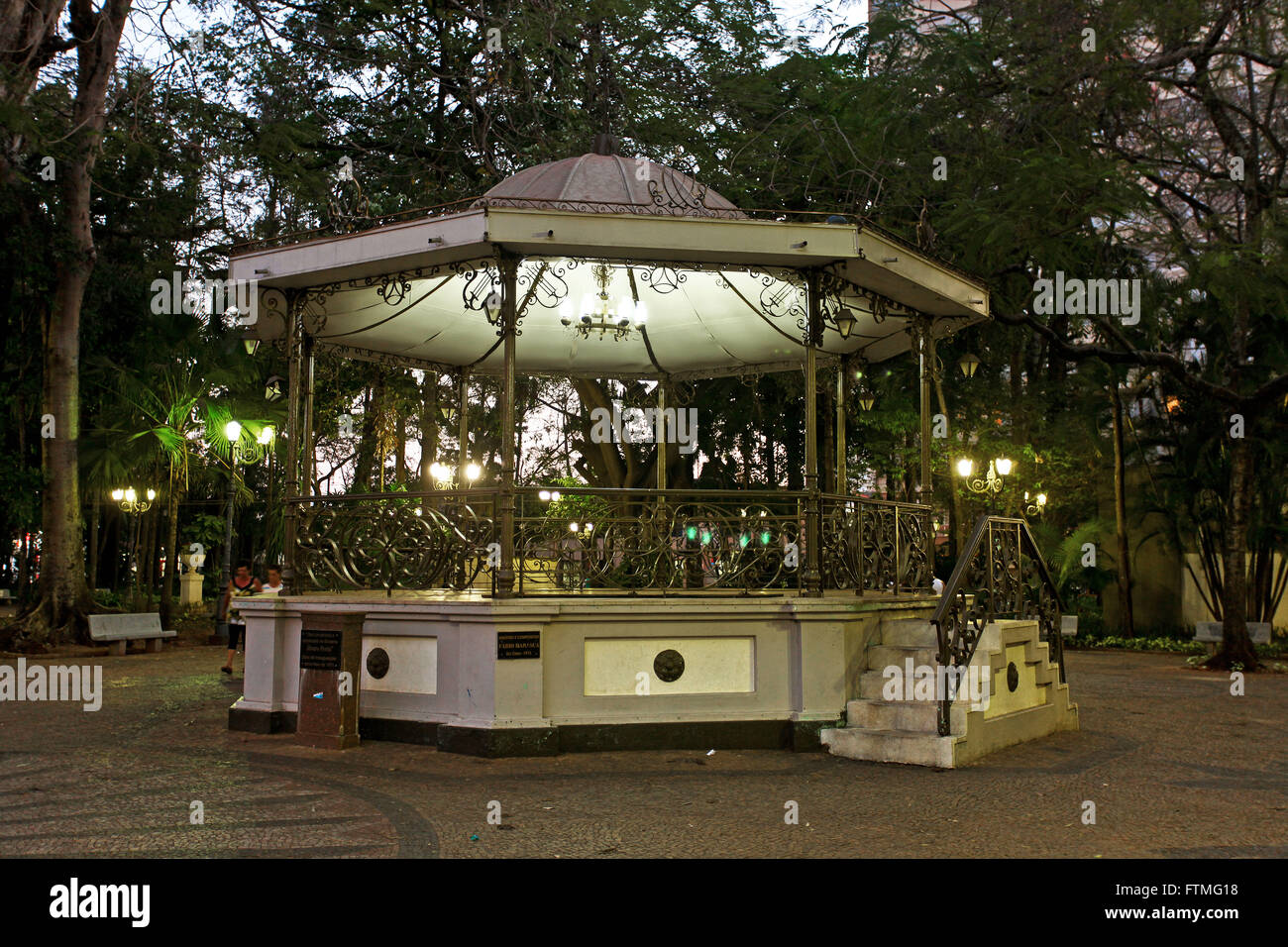 Bandstand in the Praca Marques Teixeira Lieutenant Othniel - Public Garden created in 1886 - Stock Image