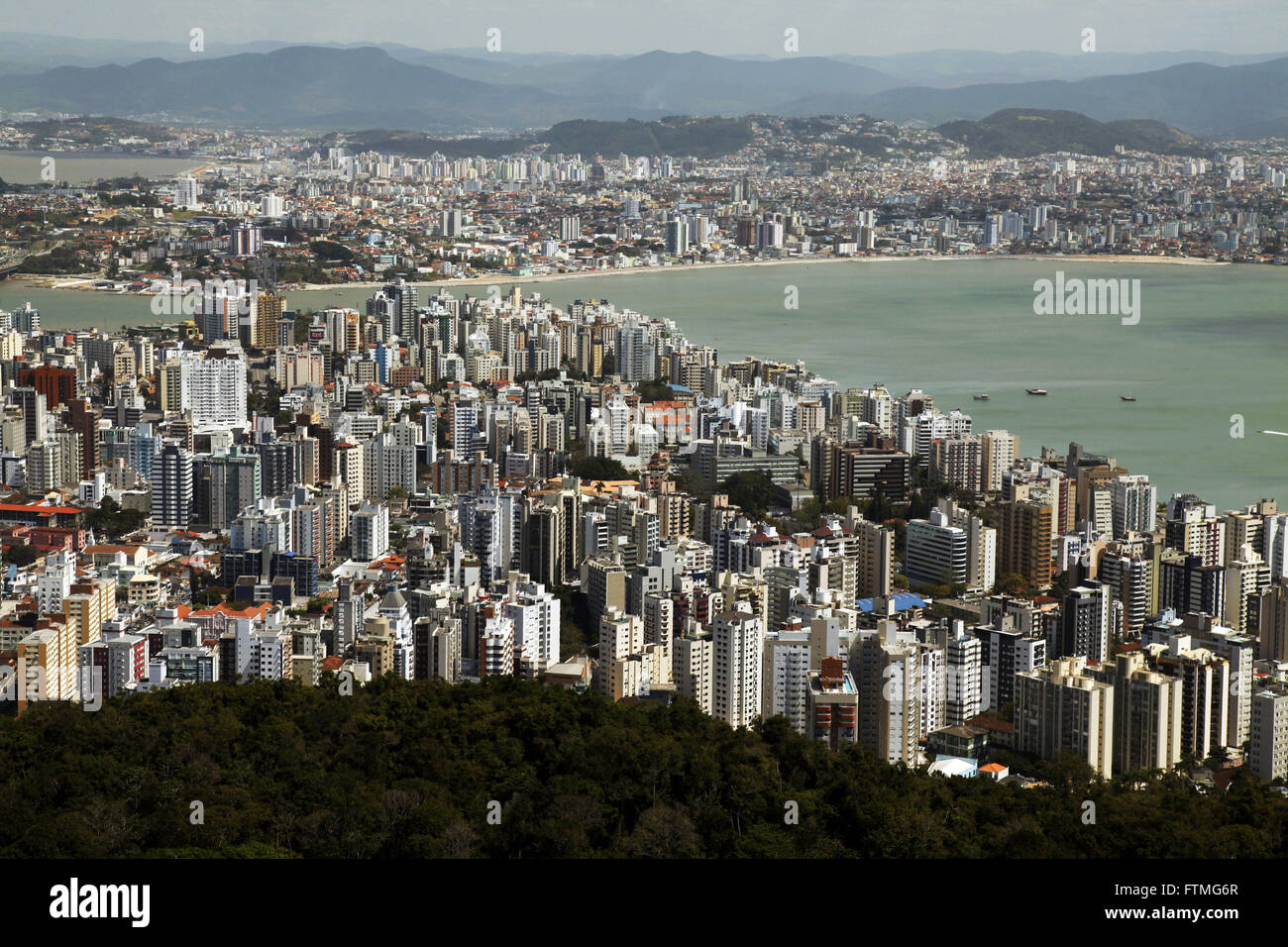 View of the city of Florianopolis from the viewpoint of Morro da Cruz - Stock Image