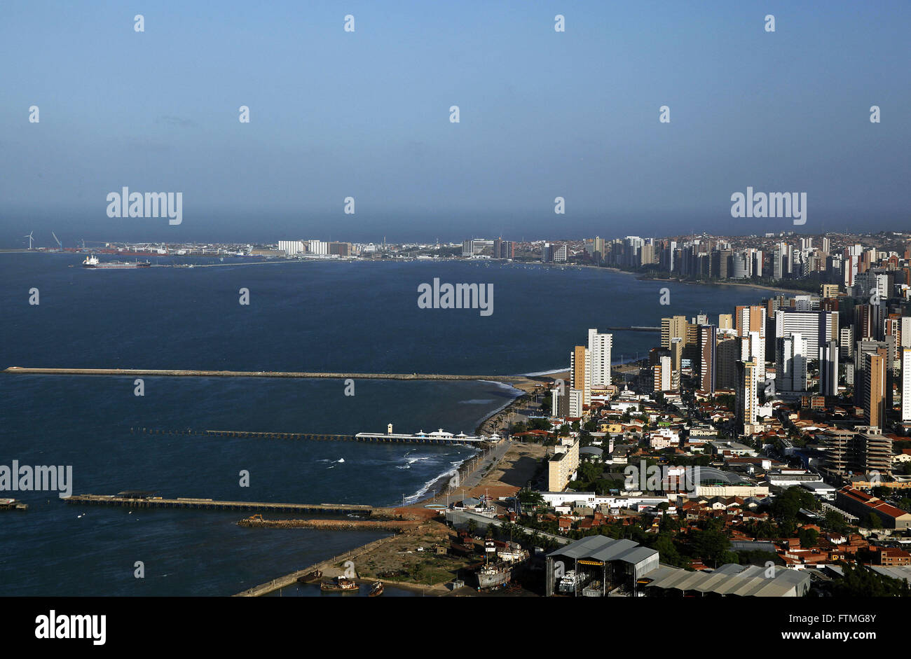 Aerial view of the waterfront of Beira Mar Avenue in Fortaleza - Stock Image