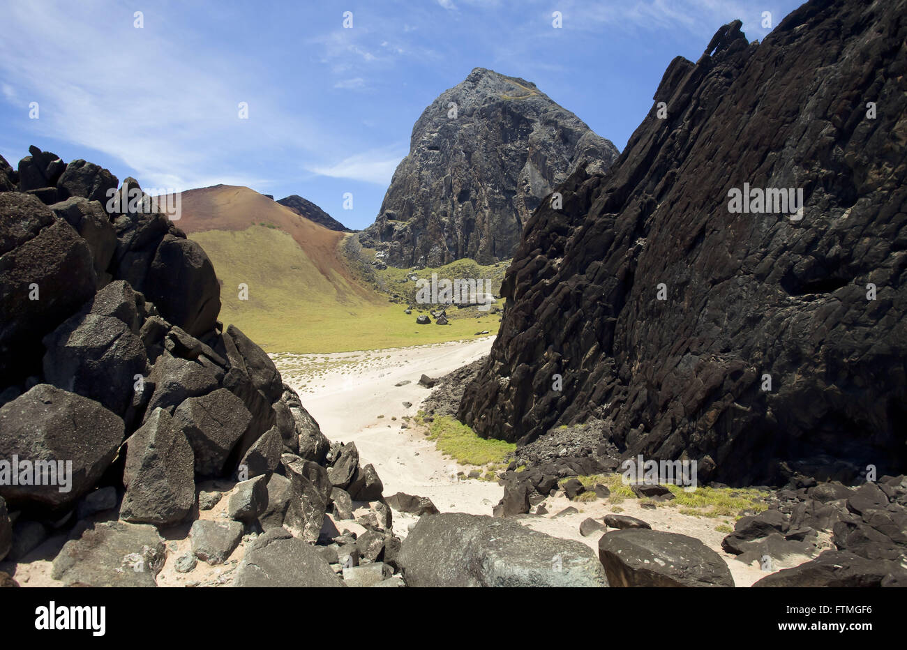 Volcanic formation on the island of Trinidad - Stock Image