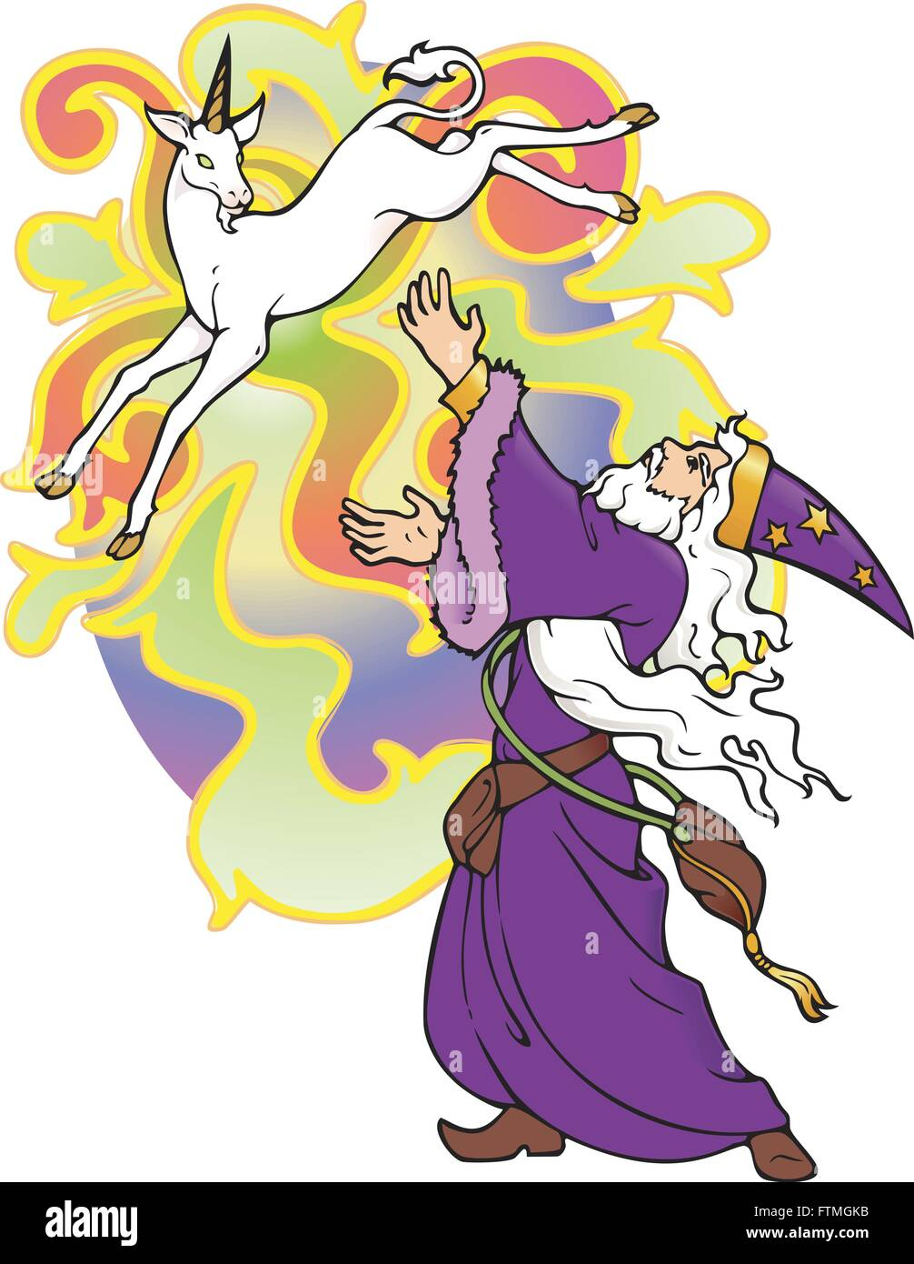 Wizard conjuring a unicorn, which doesn't want to stick around. - Stock Vector