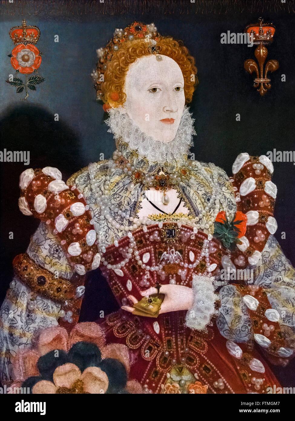Queen Elizabeth I by Nicholas Hilliard c 1573 - Stock Image