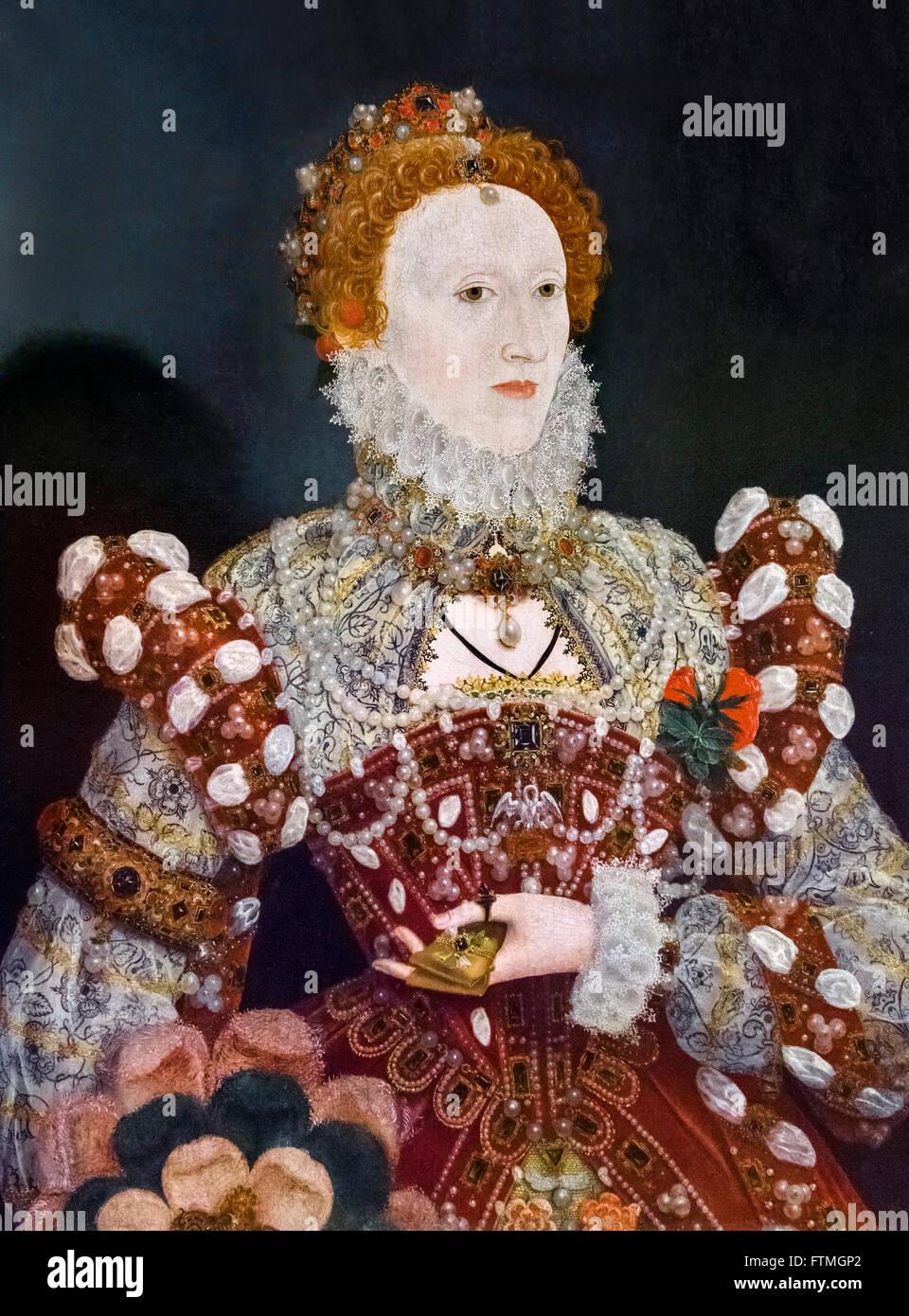 Elizabeth I. Portrait of Queen Elizabeth I by Nicholas Hilliard c 1573. - Stock Image