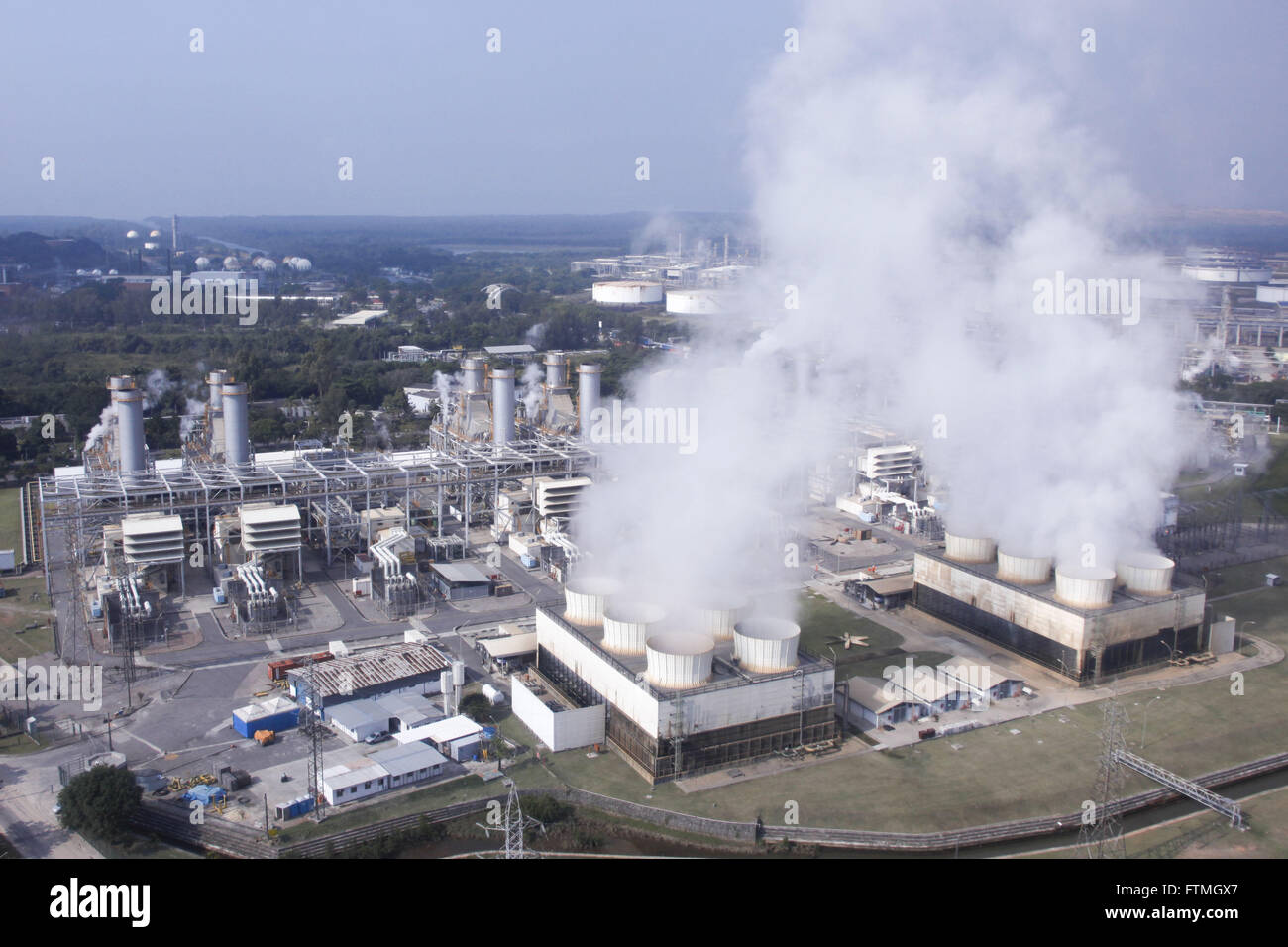 Emission of gases in the industrial region of the city - Stock Image