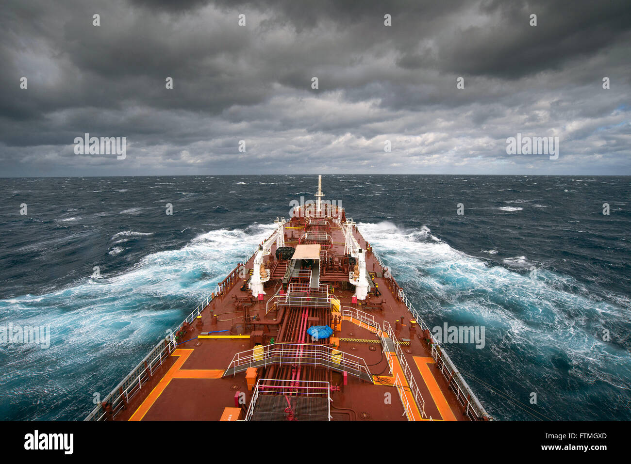 Maisa ship facing bad weather off the coast of Rio Grande do Sul - Stock Image