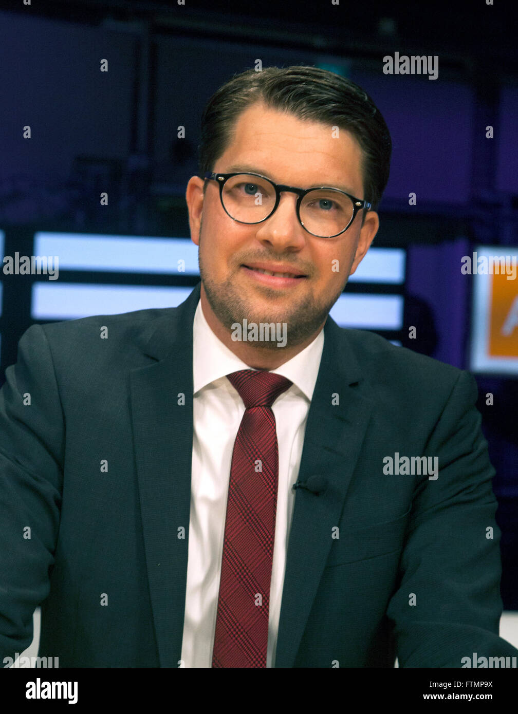 JIMMIE ÃKESSON leader of the Sweden Democrats - Stock Image