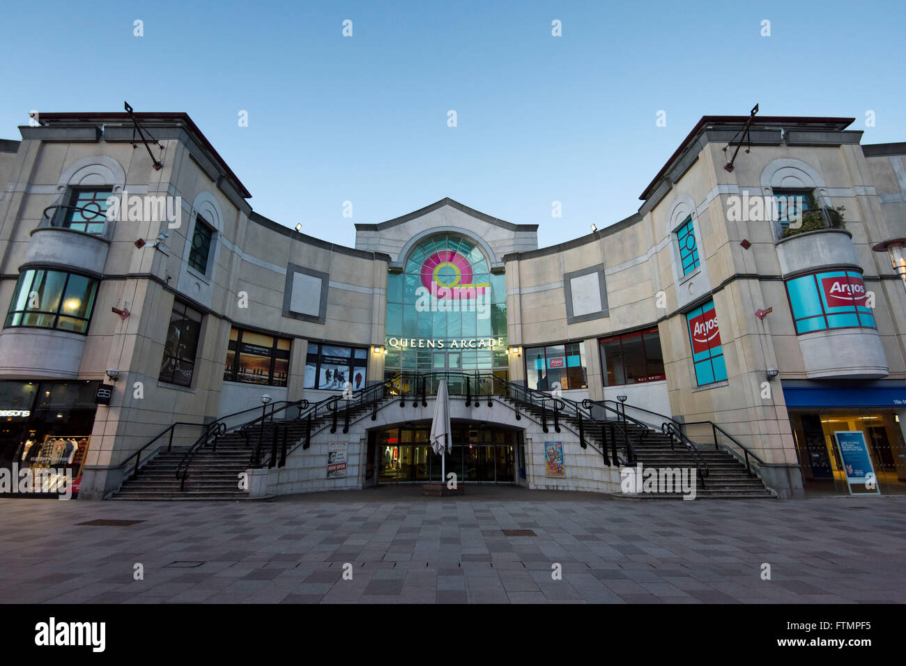 Queens Arcade shopping centre in Cardiff, south Wales. - Stock Image