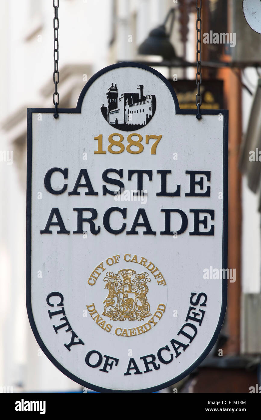 Castle Arcade sign in Cardiff, south Wales. - Stock Image