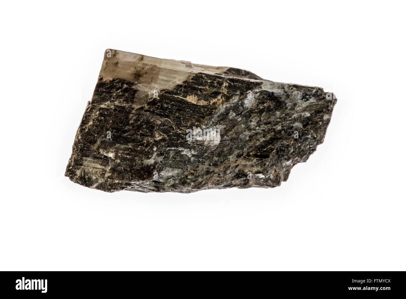 Tourmaline specimen, crystalline boron silicate mineral on white background - Stock Image