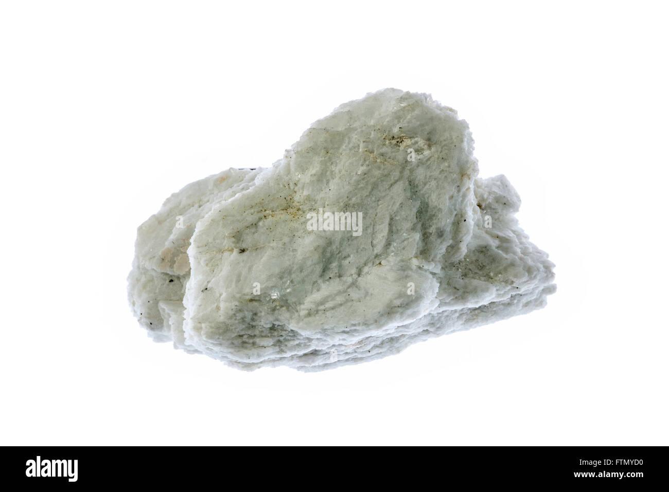 Albite, plagioclase feldspar mineral specimen on white background - Stock Image