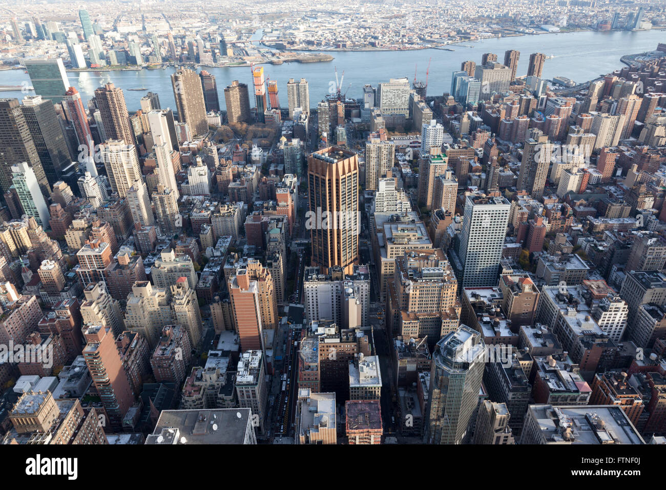 New York skyline from Empire State Building, New York, America - Stock Image