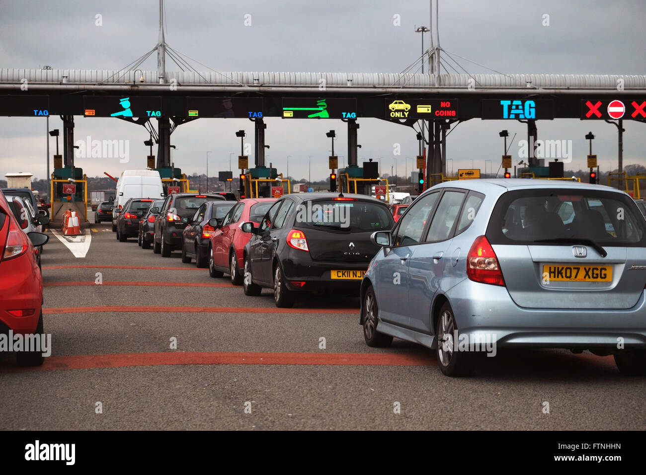 The Severn Bridge Tolls in South Wales - Stock Image