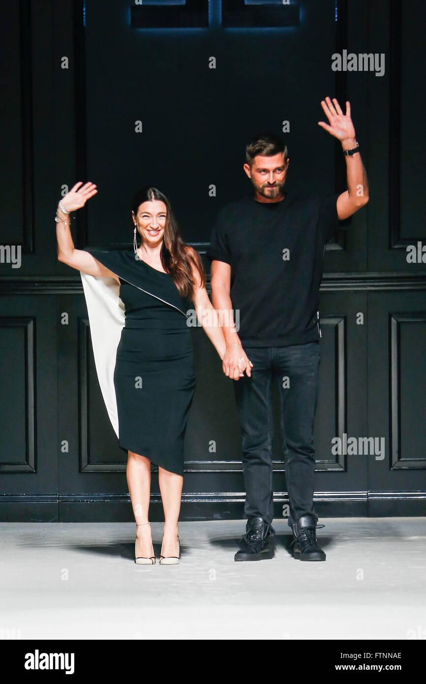 439c7e9a5b MILAN, ITALY - SEPTEMBER 26: Designer Elisabetta Franchi (L) walks ...