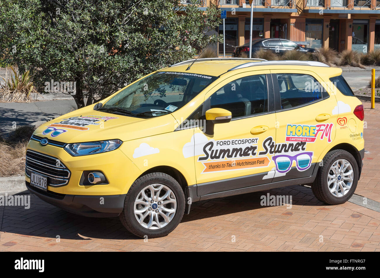 More FM Ford EcoSport Summer Stunner promotion car, New Brighton, Christchurch, Canterbury Region, New Zealand. - Stock Image