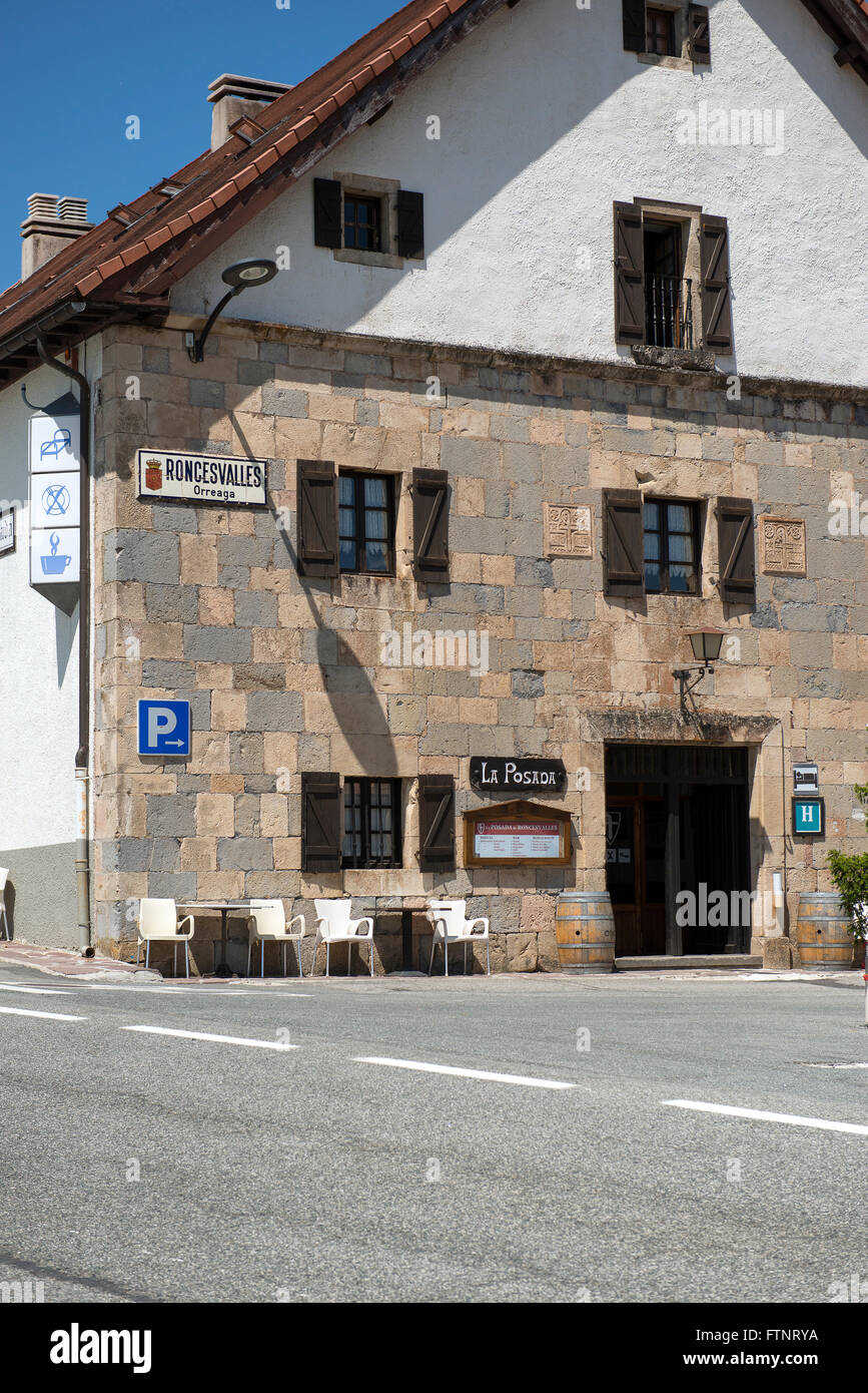 Roncevaux village a stop on the road to santiago Navarre Basque country, Spain - Stock Image