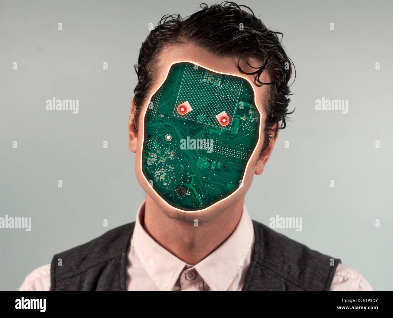 Human Robot Anonymous Circuit Board Stock Photos Cyborg With Face Image