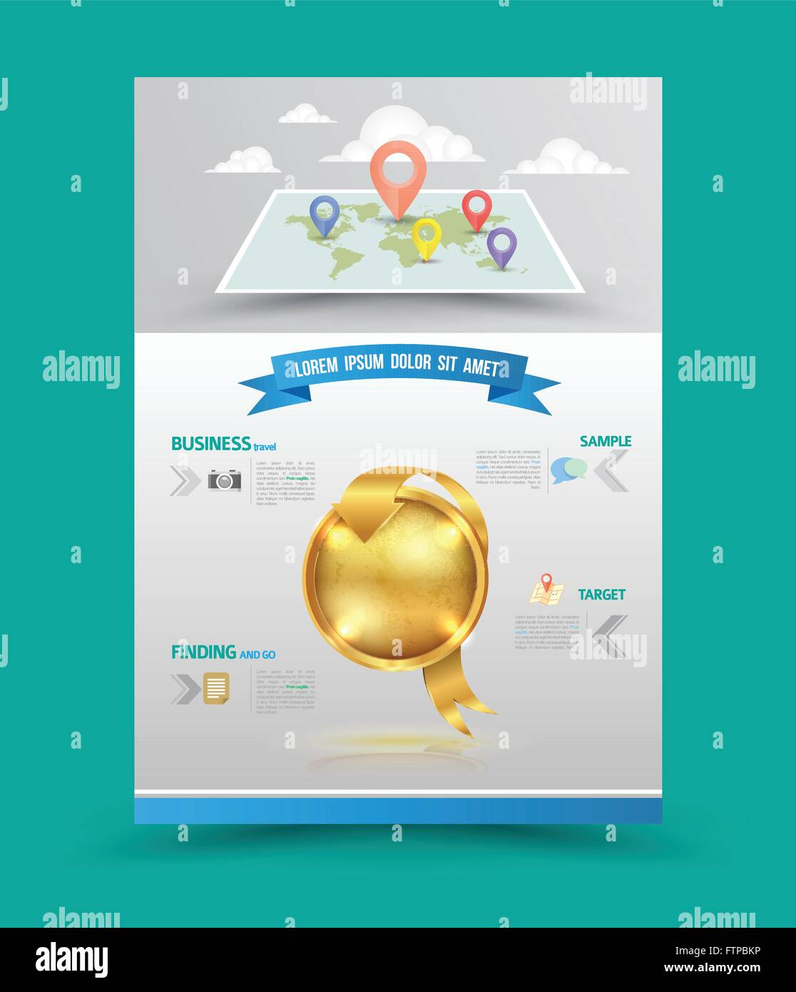 Brochure Flyer Graphic Design Layout Vector Template In A4 Size With Gold Badge