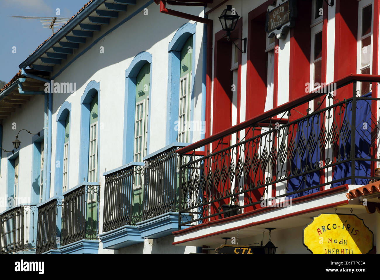 Architectural detail of the set of Straight Street - historic center of Mariana - Stock Image
