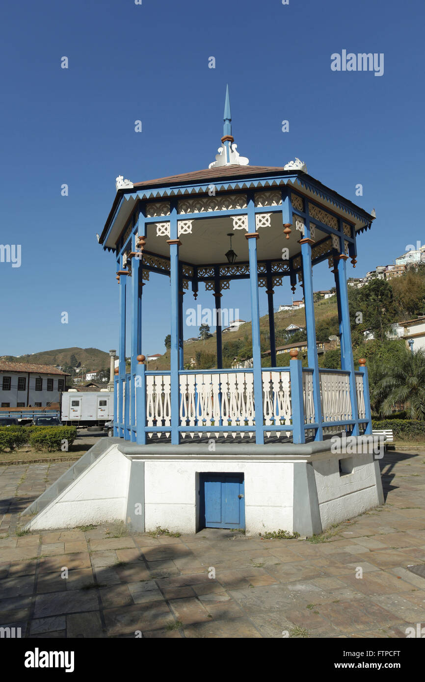 Praca Bandstand at railway station in Ouro Preto - Vale SA former CVRD - Stock Image