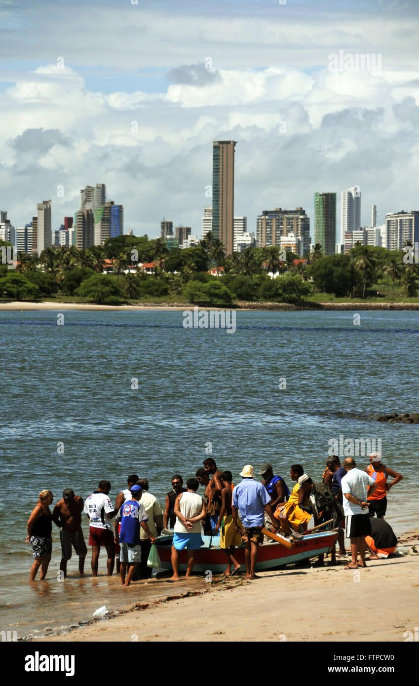 Fishing boat on Redinha Beach on the coast of Natal - Stock Image